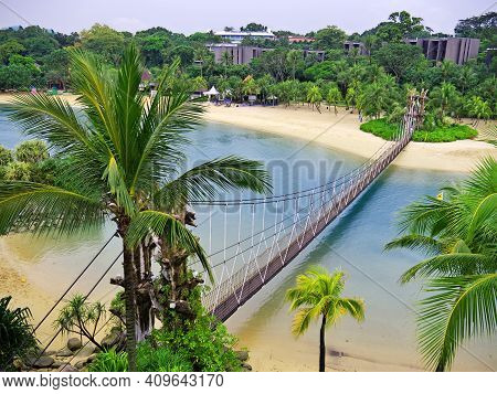 The Beach In The Park Of Sentosa Island, Singapore