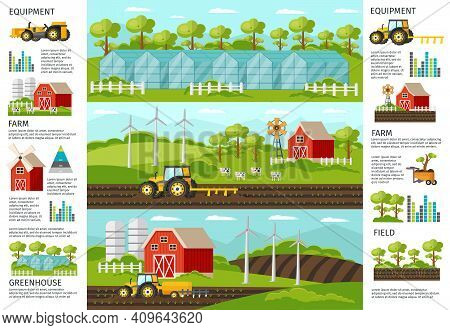 Farming And Agriculture Infographic Horizontal Banners With Vehicles Equipment Harvesting Greenhouse