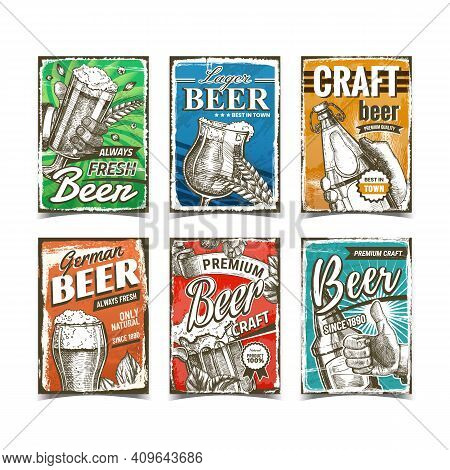 Beer Alcoholic Drink Advertise Posters Set Vector. Hand Holding Beer Cup And Glass Bottle, Lager And
