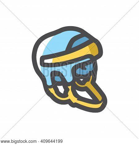 Hockey Helmet Player Vector Icon Cartoon Illustration.