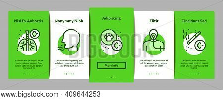 Asthma Sick Allergen Onboarding Mobile App Page Screen Vector. Asthma Allergy On Animal And Smoke, F