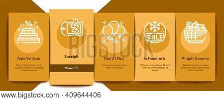 Cost Reduction Sale Onboarding Mobile App Page Screen Vector. Winter And Summer Seasonal Cost Reduct