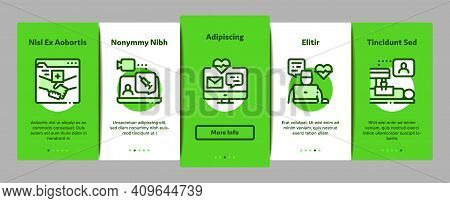 Telemedicine Treatment Onboarding Mobile App Page Screen Vector. Patient Online Medical Exam And Tel