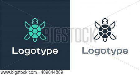 Logotype Turtle Icon Isolated On White Background. Logo Design Template Element. Vector