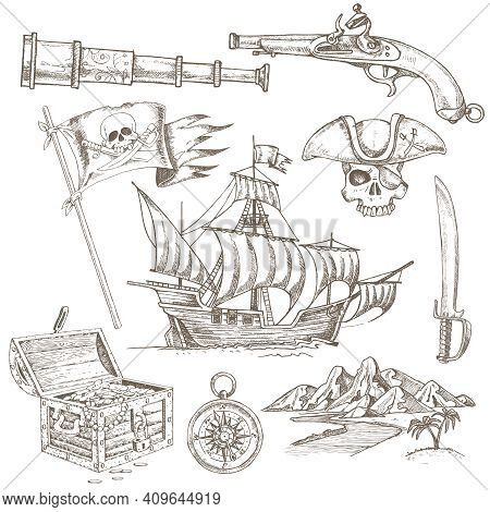 Set Of Hand Drawn Pirate Elements With Sailboat Treasure Chest And Jolly Roger Flag Isolated Vector