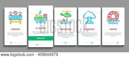 Rescuer Equipment Onboarding Mobile App Page Screen Vector. Rescue Dog And Truck, Helicopter And Lif