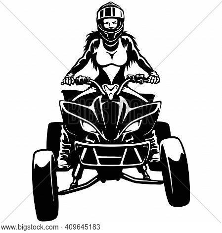 Atv Quad Bike And Sexy Girl - Extreme Dirt Bike 4x4 - Clipart, Vector Design