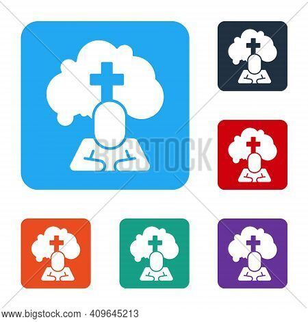 White Man Graves Funeral Sorrow Icon Isolated On White Background. The Emotion Of Grief, Sadness, So