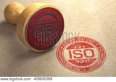 ISO 9001 certified concept. Rubber stamp with the text ISO 9001 on craft paper background. Quality control. 3d illustration