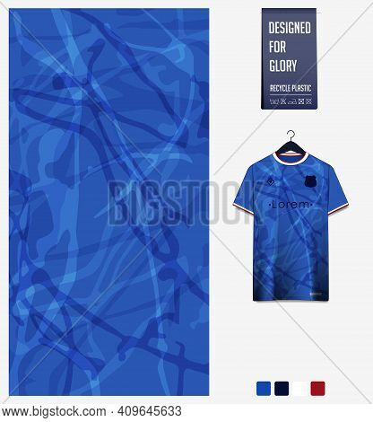 Fabric Pattern Design. Abstract Pattern On Blue Background For Soccer Jersey, Football Kit, Bicycle,