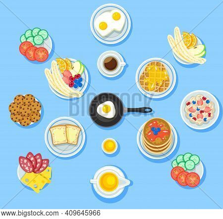Traditional Breakfast Food Set With Vegetables Fruits Omelette Cookie Waffles Toasts Pancakes Honey
