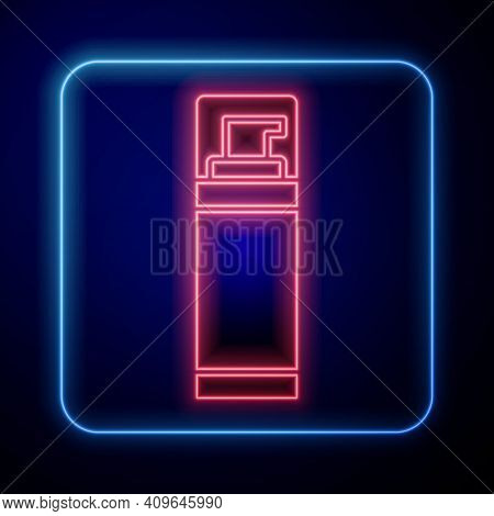 Glowing Neon Shaving Gel Foam Icon Isolated On Blue Background. Shaving Cream. Vector