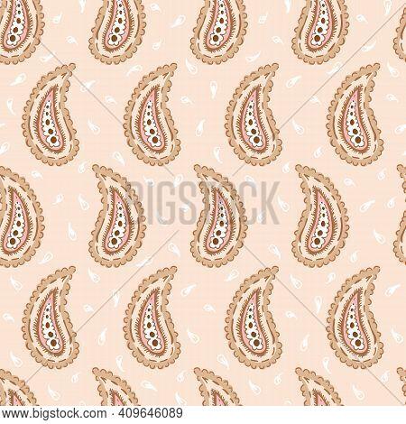 Hand-drawn Artistic Pastel Pink Paisley Vector Seamless Pattern. Boho Traditional Ethnic Fashion Sha