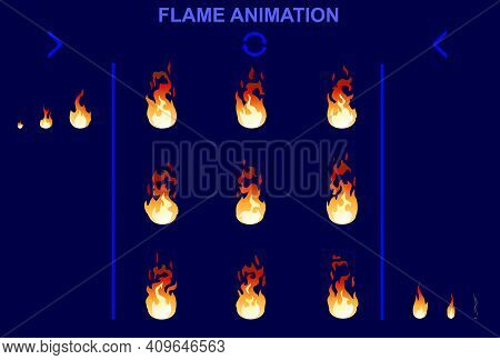 Bright Fire Flame Animation Set Of Different Shapes For Game Design In Cartoon Style Isolated Vector