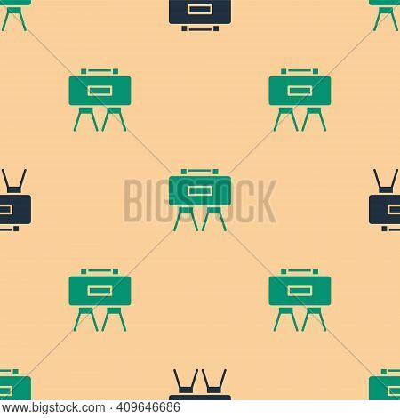 Green And Black Military Mine Icon Isolated Seamless Pattern On Beige Background. Claymore Mine Expl