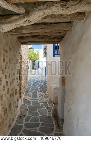 Narrowi Street In Castro (kastro), The Oldest Part Of The Chora Town On Folegandros Island. Cyclades