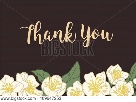 Horizontal Template Of Wedding Gratitude Card With Elegant Floral Decoration And Thank You Inscripti