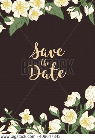 Design Of Wedding Invitation With Floral Decoration On Dark Background. Vertical Inviting Card With