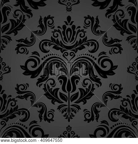 Orient Classic Pattern. Seamless Abstract Background With Vintage Black Elements. Orient Background.