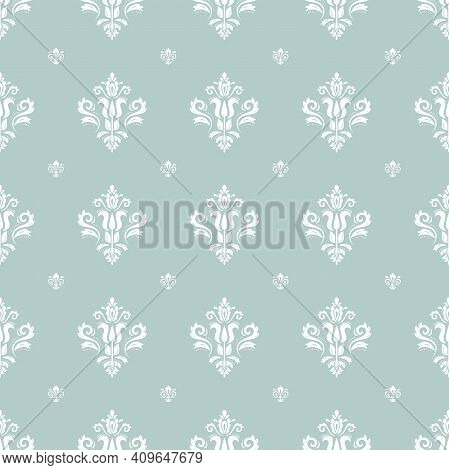 Classic Seamless Pattern. Damask Orient Blue And White Ornament. Classic Vintage Background. Orient