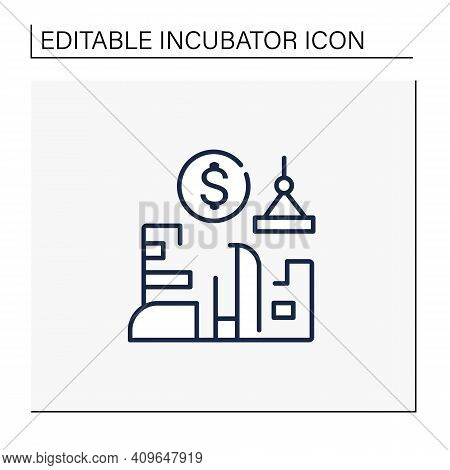 Venture Builder Line Icon. Successfully Producing New Companies, Helps Grow And Succeed. Profitable