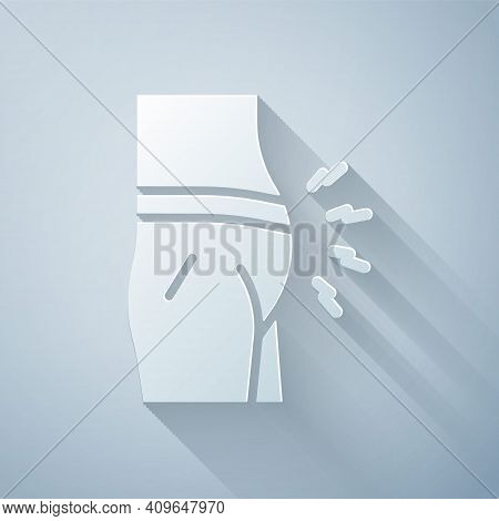 Paper Cut Abdominal Bloating Icon Isolated On Grey Background. Constipation Or Diarrhea. Paper Art S
