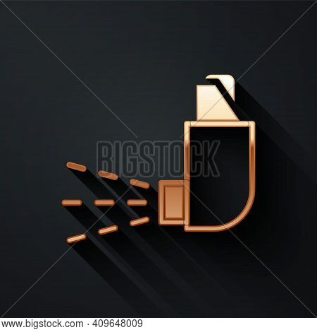 Gold Inhaler Icon Isolated On Black Background. Breather For Cough Relief, Inhalation, Allergic Pati