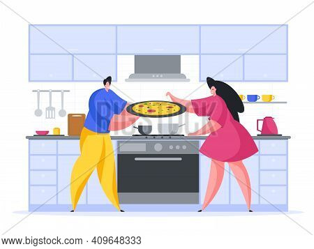 Family Cooking Pizza At Home Cartoon Illustration Vector. Male Character Is Holding Large Tray With
