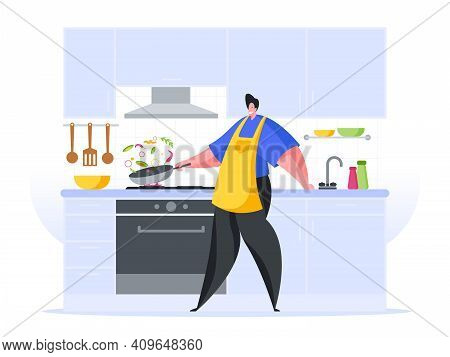 Man Preparing Stew Home Kitchen Flat Vector Illustration. Male Character In Yellow Apron Tosses Food