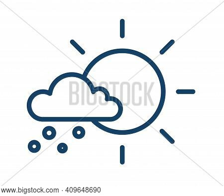 Simple Icon With Hail Falling From Cloud In Sunny Weather. Meteorology Logo With Sun And Snow In Lin