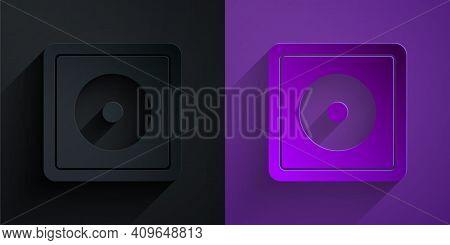Paper Cut Billiard Chalk Icon Isolated On Black On Purple Background. Chalk Block For Billiard Cue.