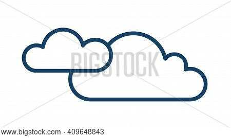 Cloudy And Overcast Weather Icon With Two Clouds In Line Art Style. Abstract Simple Logo. Contoured