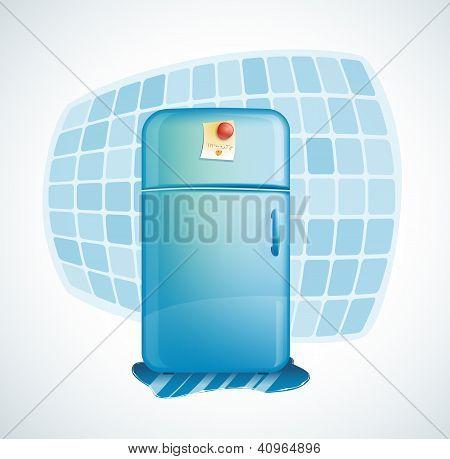 vector cartoon illustration - refrigerator