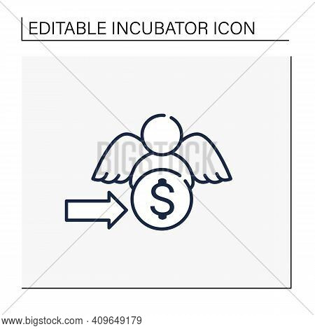Angel Investors Line Icon. Investors Help Willing To Invest In Promising, Start-up Opportunities. Go