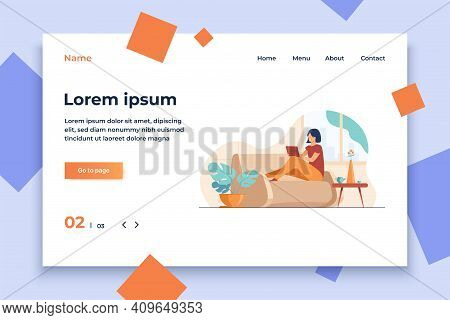 Young Woman Relaxing At Sofa With Laptop Flat Vector Illustration. Lady Sitting Home And Watching Mo