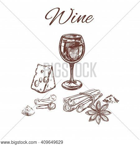 Sketch Spices For Wine Concept With Glass Cheese Cinnamon Anise And Clove In Brown Color Isolated Ve