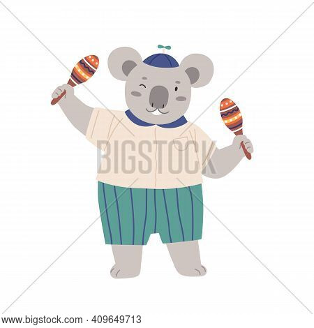 Cute Animal Musician Playing Latin Music With Maracas. Happy Koala Shaking Mexican Musical Instrumen