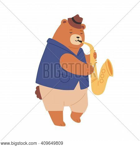 Brown Teddy Bear In Hat Playing Sax. Cute Romantic Animal Musician Performing Jazz Music. Funny Chil