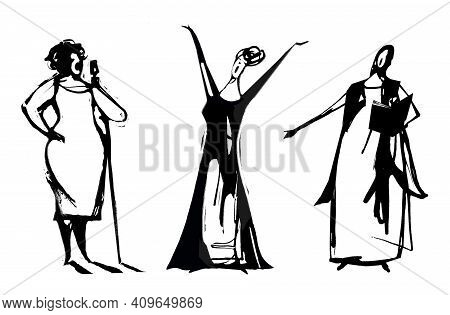 Three Women Illustration Singing, Jazz, Modern And Classical