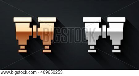 Gold And Silver Binoculars Icon Isolated On Black Background. Find Software Sign. Spy Equipment Symb