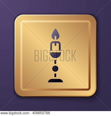 Purple Burning Candle In Candlestick Icon Isolated On Purple Background. Old Fashioned Lit Candle. C
