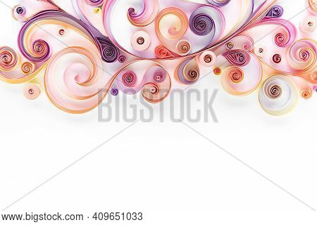 Quillind Paper Abstract Floral Banner Flat Lay With Copy Space. Hobby Quilling Paper Concept. Filigr