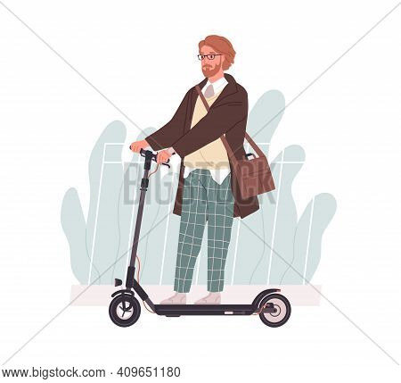 Profile Of Young Man Riding Electric Walk Scooter. Active Hipster Driving Eco Urban Transport. Moder
