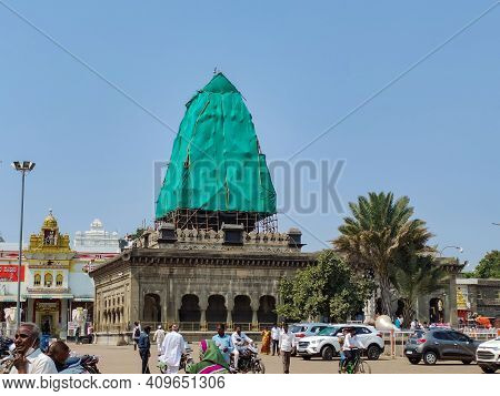 Kalburgi , Karnataka , India- February 15th 2021; Front View Of A Hindu Temple Being Constructed, Pe