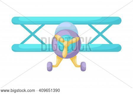 Blue-violet Airplane On White Background. Cartoon Transport For Kids Cards, Baby Shower, Birthday In