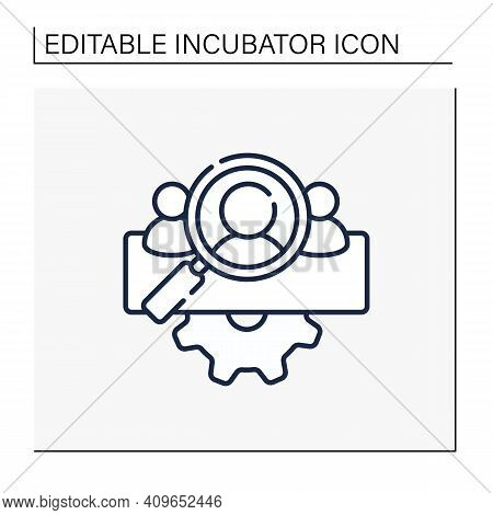 Management Team Identification Line Icon. Searching For New Employees Or Partners. Enrollment Employ
