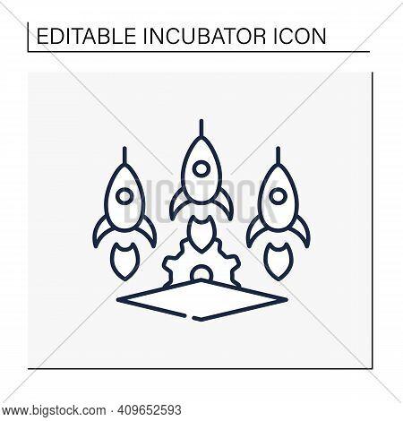 Startup Studios Line Icon. Launch And Build Several Companies In Succession. Three Successful Busine