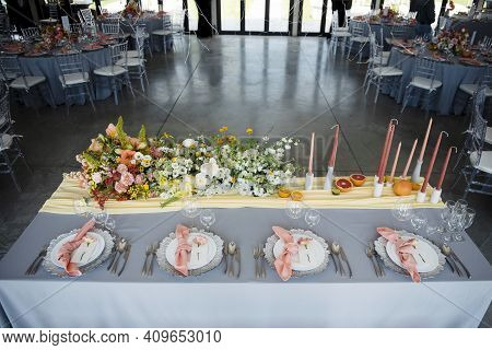 Modern Restaurant With Trendy Decorated Festive Tables
