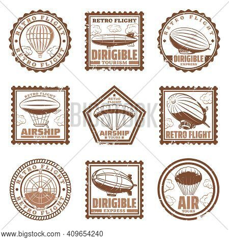 Vintage Airship Stamps Set With Blimps Or Zeppelins Hot Air Balloons Propeller Isolated Vector Illus