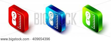 Isometric Square Measure Foot Size Icon Isolated On White Background. Shoe Size, Bare Foot Measuring